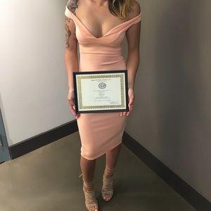 Boohoo dust pink dress